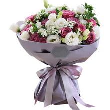 冷美人紫玫瑰19枝,白色桔梗7枝,白色相思梅5枝