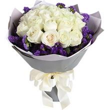 雪山白玫瑰19枝,紫色勿忘我圍繞