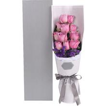 紫色玫瑰11枝、深紫色勿忘我0.3扎