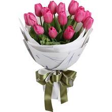 玫紅色郁金香19枝,搭配葉上花