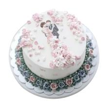 韓式裱花蛋糕,情侶圖案造型,水果夾層