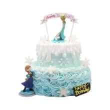 12寸+8寸雙層圓形鮮奶蛋糕,鮮奶裱花圍邊,雪花狀巧克力裝飾搭配