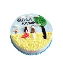 圓形鮮奶蛋糕,卡通圖案造型如圖