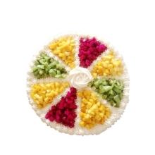 圆形水果蛋糕,芒果、红心火龙果、猕猴桃分格铺面
