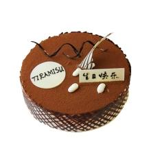 圓形提拉米蘇蛋糕,巧克力裝飾搭配