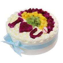 圓形水果蛋糕,芒果、紅心火龍果、獼猴桃分層鋪面,水果造型如圖