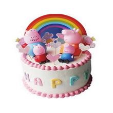 圆形小猪佩奇鲜奶蛋糕,小猪佩奇卡通装饰,加各种卡通装饰如图