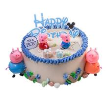 圓形小豬佩奇鮮奶蛋糕,小豬佩奇卡通裝飾,加各種卡通裝飾如圖