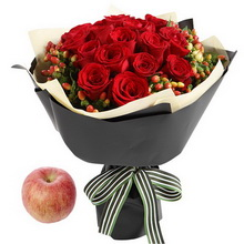 蘋果1個+紅玫瑰19枝,紅豆10枝(如當地紅豆缺貨,用相思梅等其他寓意相近配材替代。)
