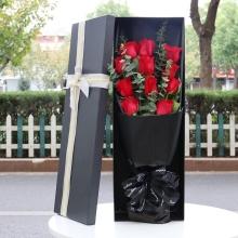 11支精品紅玫瑰,間插尤加利葉