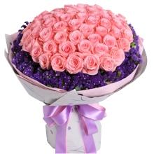 66枝戴安娜粉玫瑰,勿忘我外圍豐滿