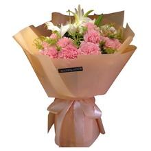 11朵粉色康乃馨,2支多頭百合,黃鶯間插