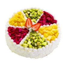 圓形水果夾心蛋糕,蛋糕表面水果分6格擺放