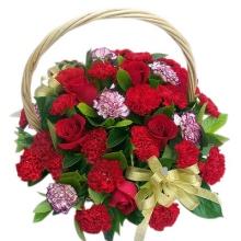 红康乃馨20枝,紫边康乃馨6枝,红玫瑰6枝,绿叶适量