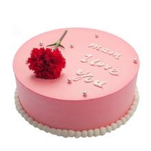 圓形鮮奶蛋糕,一朵新鮮紅色康乃馨