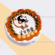 圓形水果蛋糕 生肖猴圖案,多種水果搭配外圍
