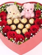 9红玫瑰+9巧克力+2小熊心形款