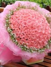 99朵粉玫瑰,黄莺、满天星外围