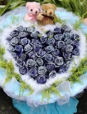 33朵蓝玫瑰心形包装款:(送2只小熊)