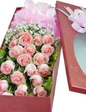 19枝粉色玫瑰,黄莺,绿叶满天星搭配