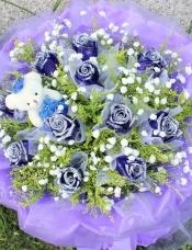 11朵蓝玫瑰 黄莺、满天星点缀(紫色软纱圆形包装)