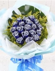精心挑选19朵优质蓝色妖姬,黄莺外围