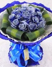 精心挑选19朵昆明蓝玫瑰,巴西木叶搭配