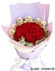 24枝红玫瑰,半圆形围绕6只五寸小熊,叶上花适量