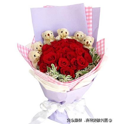 24枝玫瑰花/�t玫瑰