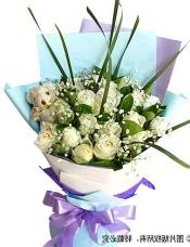 19枝白玫瑰,1只五寸小熊,满天星+剑叶+绿叶适量