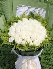 精心挑选33朵昆明白玫瑰,黄莺,绿叶点缀