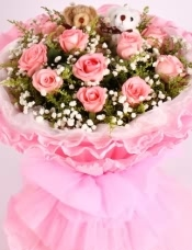 11支粉玫瑰,可爱小熊一对,满天星黄莺搭配