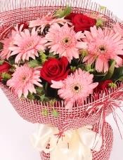 精心挑选11枝扶郎,8朵红玫瑰,绿材点缀,美丽迷人
