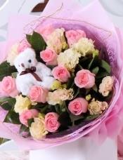 11朵戴安娜玫瑰,桔梗、栀子叶丰满