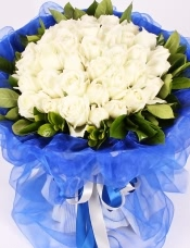 精心挑选33朵优质白玫瑰,栀子叶点缀,美丽迷人