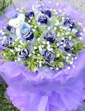 精心挑选11枝蓝色妖姬玫瑰+1只小熊,搭配黄莺满天星。
