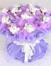 精心挑选11只可爱关节小熊,可爱大气,美丽迷人 网纱圆形包装,完美大气