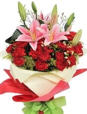 29枝红康乃馨,2枝多头粉香水百合,水晶草+黄莺适量搭配