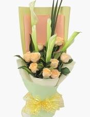 5枝白色马蹄莲,9枝香槟玫瑰,剑叶+绿叶适量