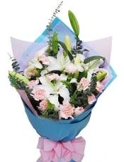 粉康乃馨16枝,白(或粉)香水百合2枝,适量配叶丰满