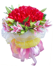 99枝红玫瑰,10枝粉色百合,黄英插间