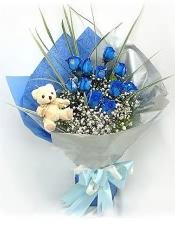 11枝蓝色妖姬(昆明产),满天星丰满,搭配剑叶,5