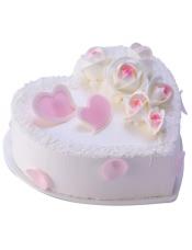 18cm心形蛋糕,原味戚风蛋糕+玫瑰慕斯夹心蛋糕
