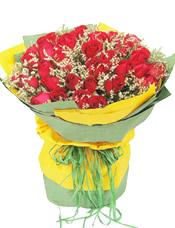 56枝红玫瑰,情人草间插。