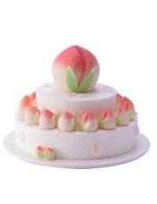直径30cm+20cm+12cm寿桃三层蛋糕, 原味戚风蛋糕+酸奶提子夹心