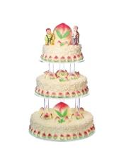 30+40+50cm三层蛋糕 无论从食材选择还是整体外观都无可挑剔的豪华贺寿蛋糕; 此款蛋糕需要收取托盘押金1500元,托盘完好退还后,押金全额退回,托盘押金支付下订单时选择其他费用