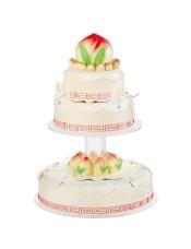 20+30+40cm三层蛋糕 突出寿桃造型,配以健康的奶油,让老寿星再添福气。 此款蛋糕需要收取托盘押金600元,托盘完好退还后,押金全额退回,托盘押金支付下订单时选择其他费用