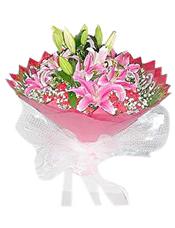 8枝粉色香水百合、红色康乃馨16支,适量漫天星、散尾