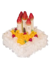 由于草莓是季节性水果,部分城市可能用提子等水果代替草莓装饰