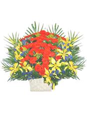 """60枝红色康乃馨,9枝黄色百合,黄莺搭配,适量散尾葵外围,""""寿""""字图形"""